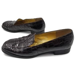 Bruno Magli brown croc embossed loafers patent 8